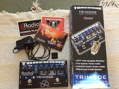 Radial Tonebone Trimode Tube Valve Distortion Overdrive Boxed With Power Supply