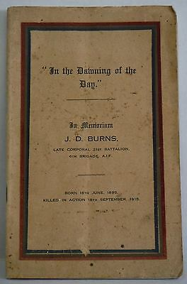 In the Dawning of the Day J D Burns world war 21st Battalion Tribute Poetry book