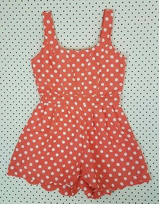 Womens Vintage Polka Dot Jumpsuit Size Small (8) Pink