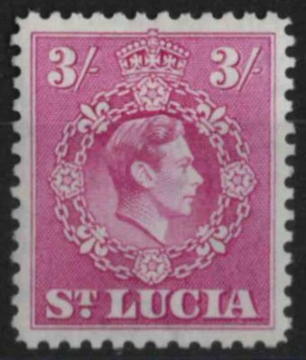 s217) St Lucia. 1938/48. MM. SG 136a 3/- Bright purple. P12.5. Royalty.