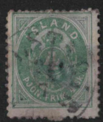 t279) Iceland. 1873. Used. SG O8 4s Green. Official. c£275.