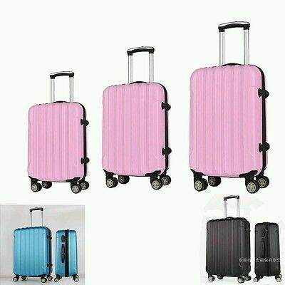 3 Pcs NEW Luggage Travel Set Bag ABS Trolley Suitcase w/TSA Lock 6 Colors