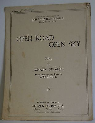 Open Road Open Sky Johann Strauss Ann Ronell 1940 vintage sheet music