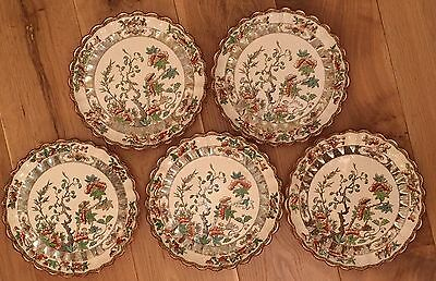 Antique Spode Copeland Plates x5 India Tree Pattern Back Stamped circa 1860