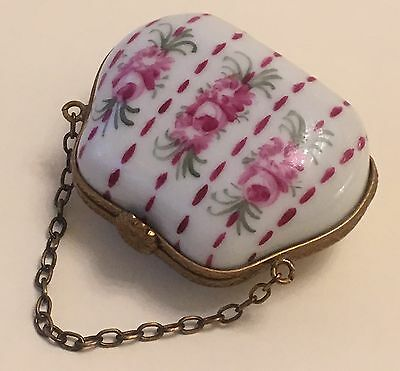 Limoges France Signed & Numbered Peint Main Hand Painted Purse Bag Trinket Box
