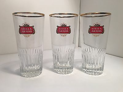 RARE COLLECTABLE SET OF 3 STELLA ARTOIS BEER GLASSES 330ML Glass