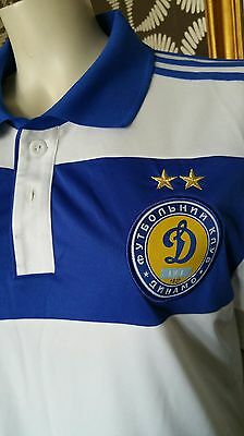 Adidas White Blue Climacool Dynamo Kiev Ukraine Football Jersey Shirt Top L