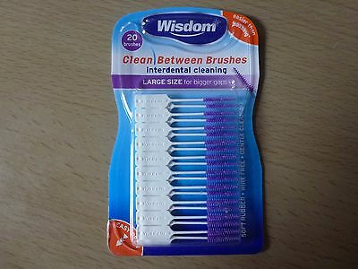 WISDOM CLEAN BETWEEN BRUSHES INTERDENTAL CLEANING ORAL HYGIENE PURPLE Large Size