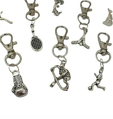 SPORTS KEYRING Zip Pull Tennis Golf Football Hockey Birthday Gift *Huge Choice*