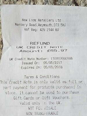 New Look Credit Note  £65.97
