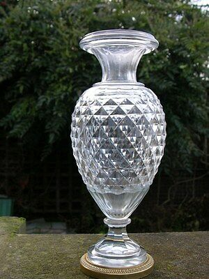 Antique Continental French Baccarat Brilliant Cut Glass Vase Urn Ormolu Mounted