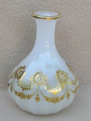 Antique Continental French Baccarat Opaline Gilded Glass Decanter Rococo Style