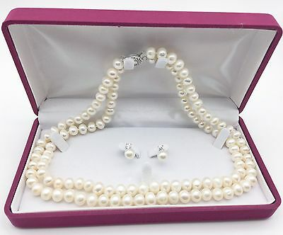 Retro glamourous Freshwater Pearl Gift set Necklace/Earrings (with gift box)