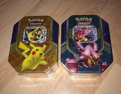 BRAND NEW And Sealed Pokemon Collectors Tin x 2 Pikachu EX & Volcanion EX