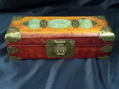 Vintage Chinese Jewellery Box, Wood with Ornate Brass and Carved Jade.