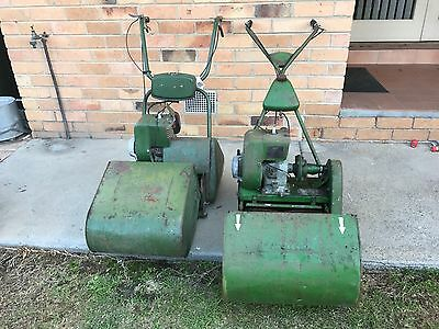 """Vintage x 2 barrell 14"""" roller reel cylinder mowers with catchers"""