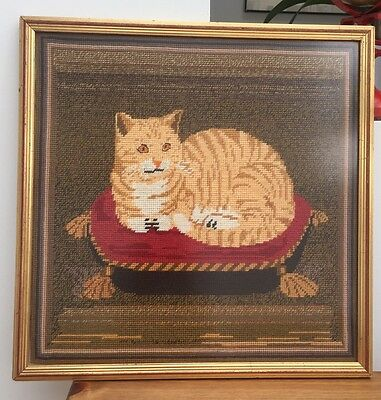 Marmalade Tabby Cat Completed & Framed Tapestry - This Is 1 Contented Cat 🐱!