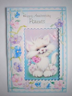 "Vintage ""happy Anniversary Parents"" Embossed  Greeting Card"