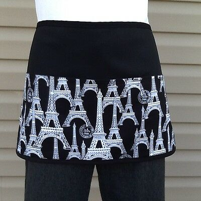 BLACK  Paris 3 POCKET WAITRESS WAIST APRON RESTAURANT SERVER Classyaprons