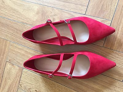 Red Suede M & S Shoes 60's Mod Mary Jane Dolly Sz 5 Retro Straps