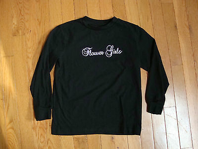 "Wedding Party ""Flower Girls"" T-Shirt  Black LONG SLEEVE Tee Bridal Kids Size S"