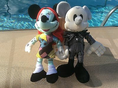 Disney Parks The Nightmare Before Christmas Mickey & Minnie Soft Plush Doll Toys