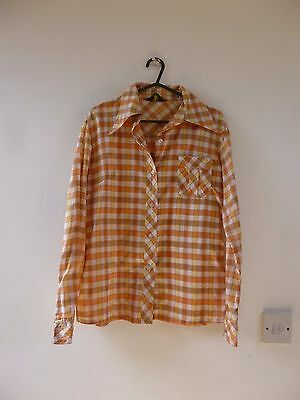 Unbranded true vintage checked 70s shirt/blouse/top size S/M