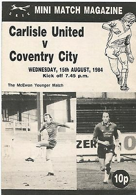 Carlisle United v Coventry City, 15 August 1984, Pre-Season Friendly (creased)