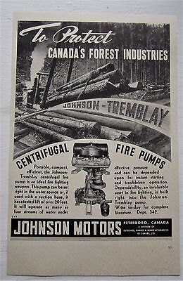 Very Rare 1947 Canadian Johnson Outboard Motor Ad Johnson Tremblay Fire Pump