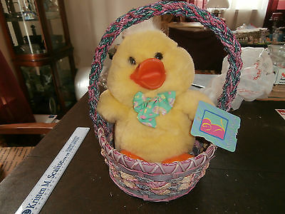 Musical Duck Easter Basket Press Belly And It Sings, Minty Condition.