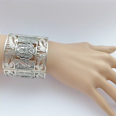 Vintage Signed Peruvian Aztec Mayan Tribal Oversized Heavy Silver Cuff Bracelet