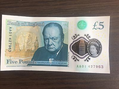 New Rare 5 Five Pound Note Serial AA01 427963 Polymer