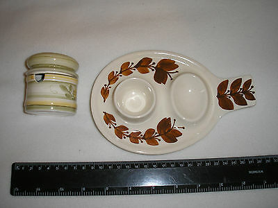 Vintage Jersey Studio Pottery: Double Egg Cup +Small Lidded Jar. Hand Decorated