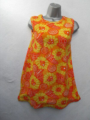 VINTAGE 1960s/70s ABSTRACT FLORAL MINI BEACH DRESS / COVER UP - MOD / SCOOTER