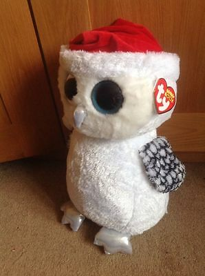 new Xmas Beanie Boo / Beanie Boos XL extra large Owl Tinsel18 Inches 45 Cm Tall