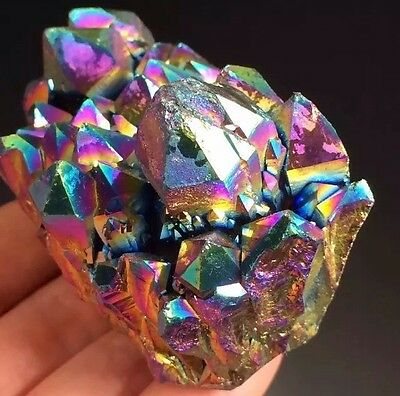 Blue, Purple And Gold Flame Aura Quartz Electroplated Crystal Cluster 0579