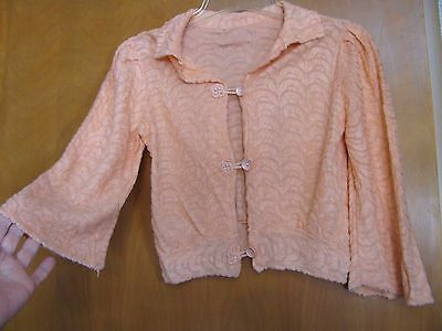 True Vintage 1930s Coral Pink Silk Chenille Bed Jacket  Lingerie Movie Star Glam