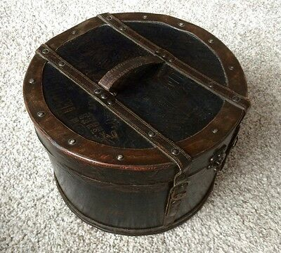 Leather-covered wooden hat box