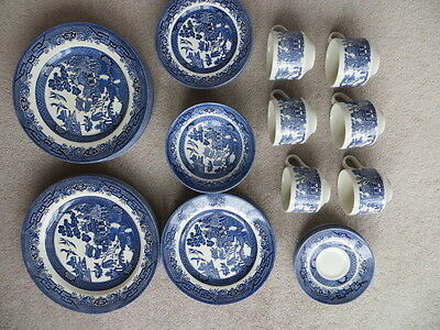 Job Lot -Large Set Of Churchill Willow Pattern Plates, Cups Etc.good Condition