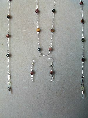 Multi-Colour Tigers Eye Gemstone Spectacle Chain Necklace and Earrings