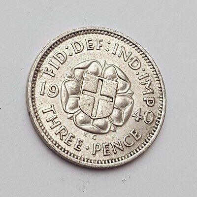 Dated : 1940 - Silver - Threepence / 3d - Coin - King George VI - Great Britain