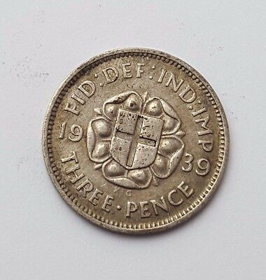 Dated : 1939 - Silver - Threepence / 3d - Coin - King George VI - Great Britain
