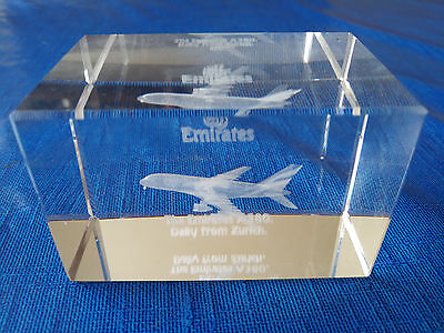 Lasergravur / Laser Engraving Hologram EMIRATES A380 *very nice deco item*