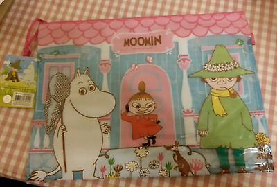 Moomin Characters Pink color Luttle MY Plastic A4 size Zipper Case