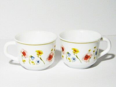 Arcopal France 2 Cups With Various Floral pattern Tea Coffee PINK POPPY YELLOW