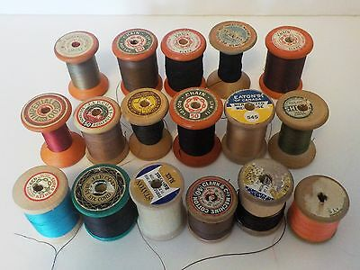 Lot of 17 Vtg Wood Spools of Sewing Thread Variety of Brands & Colors  Crafts