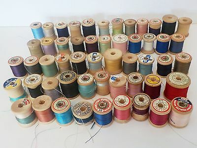 Lot of 53 Vtg Wood Spools of Sewing Thread Variety of Brands & Colors  Crafts
