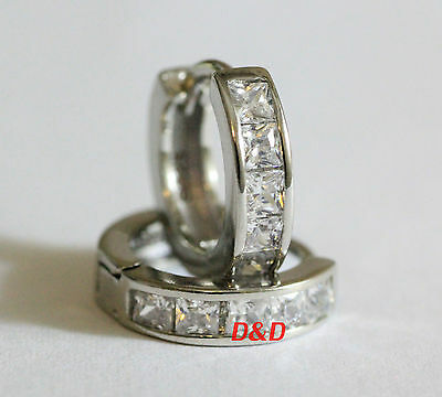 15mm 18k White Gold Finish 925 Silver Round Square Lab Diamond  Hoop Earrings