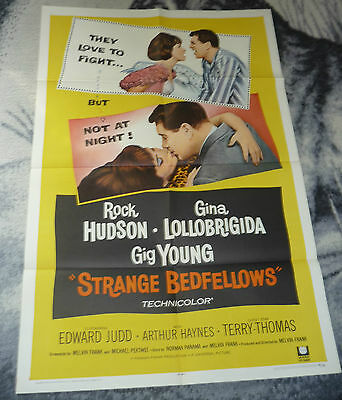 Strange Bedfellows Orig 1 Sheet Movie Poster 27X41 Rock Hudson Folded .