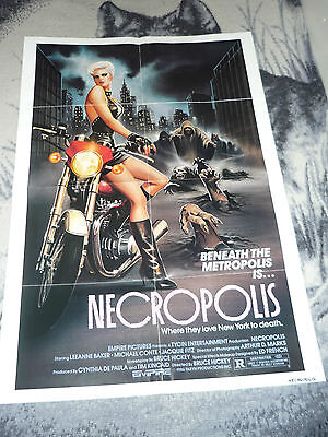 Necropolis 1986 Folded 1 Sheet Poster Empire Pictures Cult Horror .